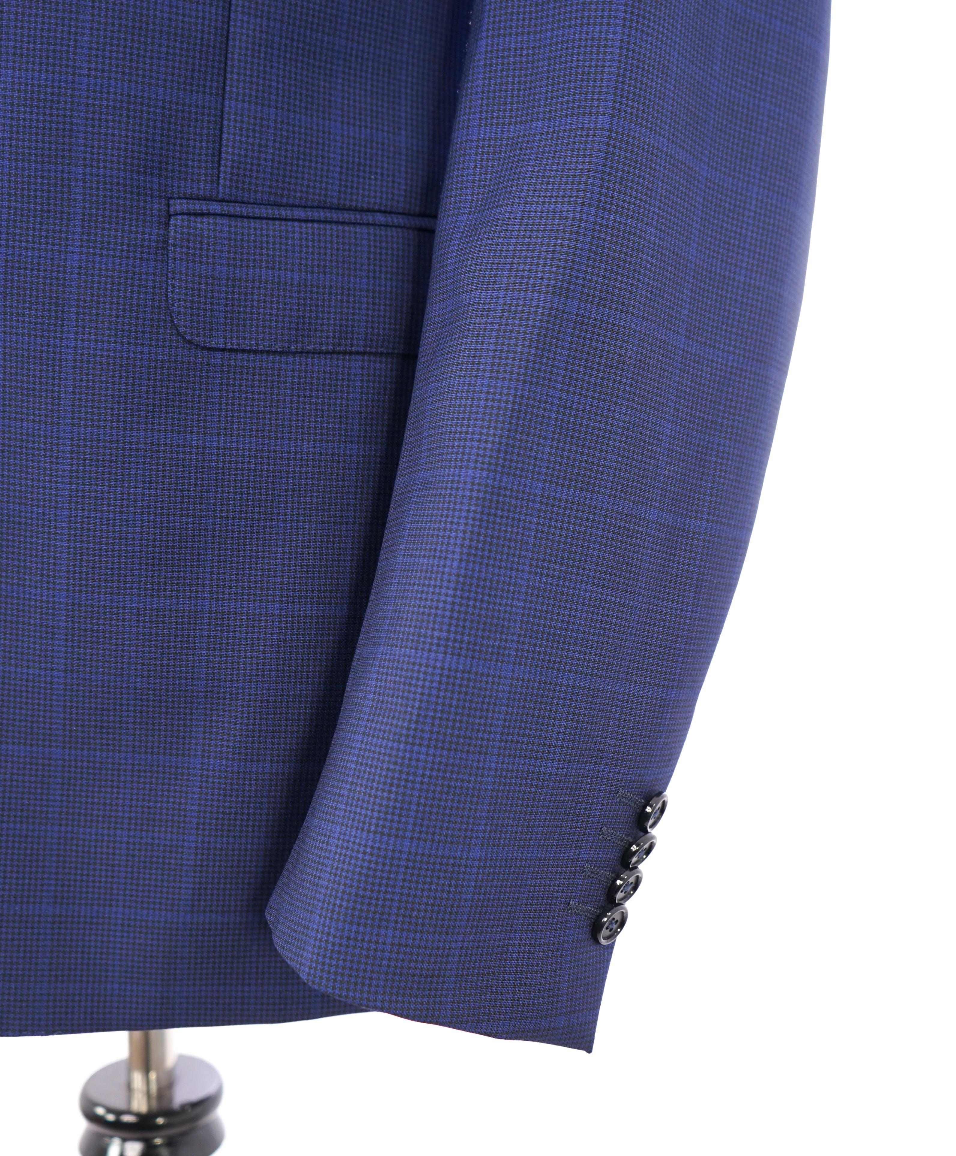 Z ZEGNA - Cobalt Blue Textured Plaid Check Fabric Drop 7 Wool Suit - 40R