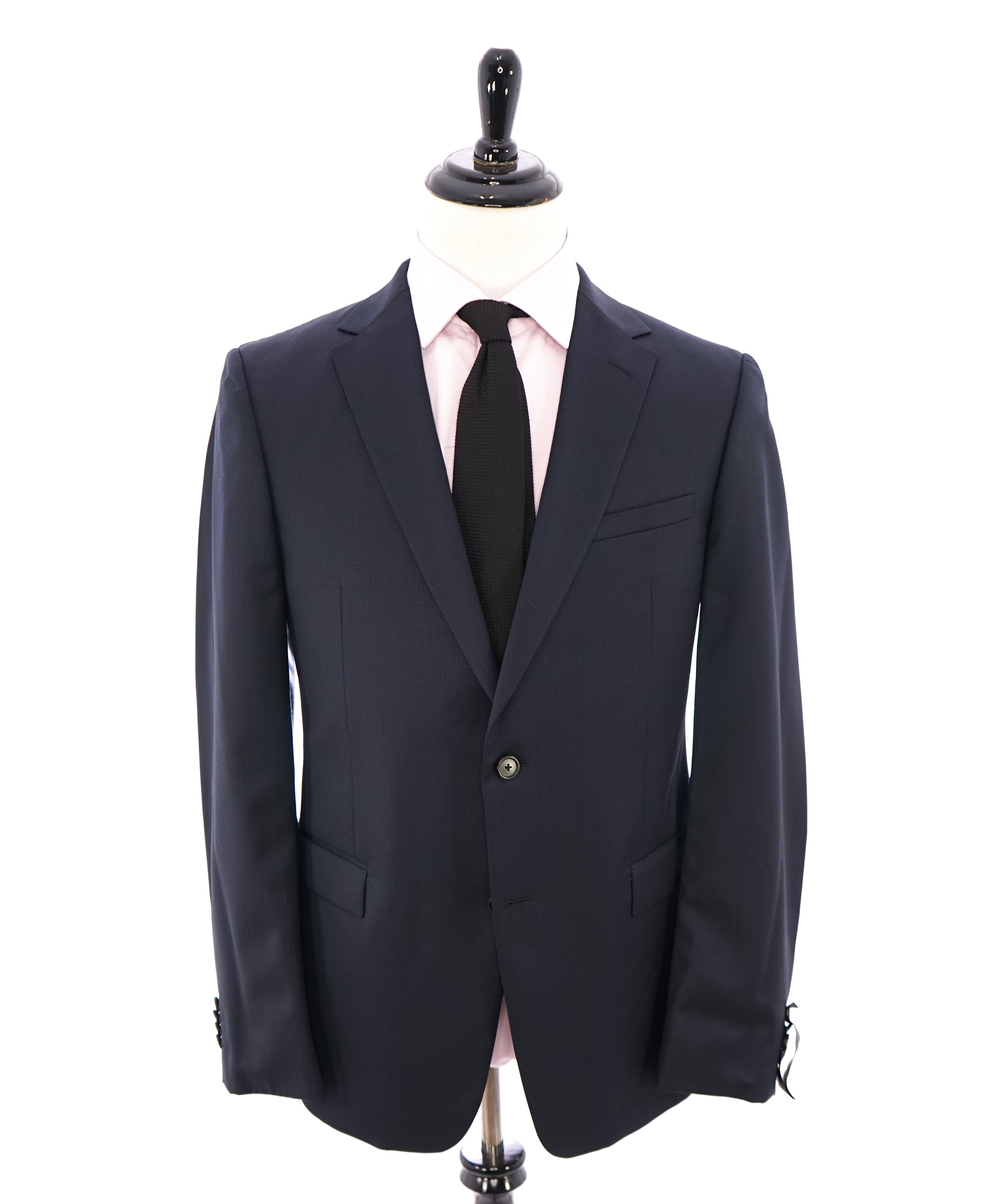 92c421f44976b Z ZEGNA - Navy Blue Micro Check Fabric Drop 8 Wool Suit - 44R – Luxe ...