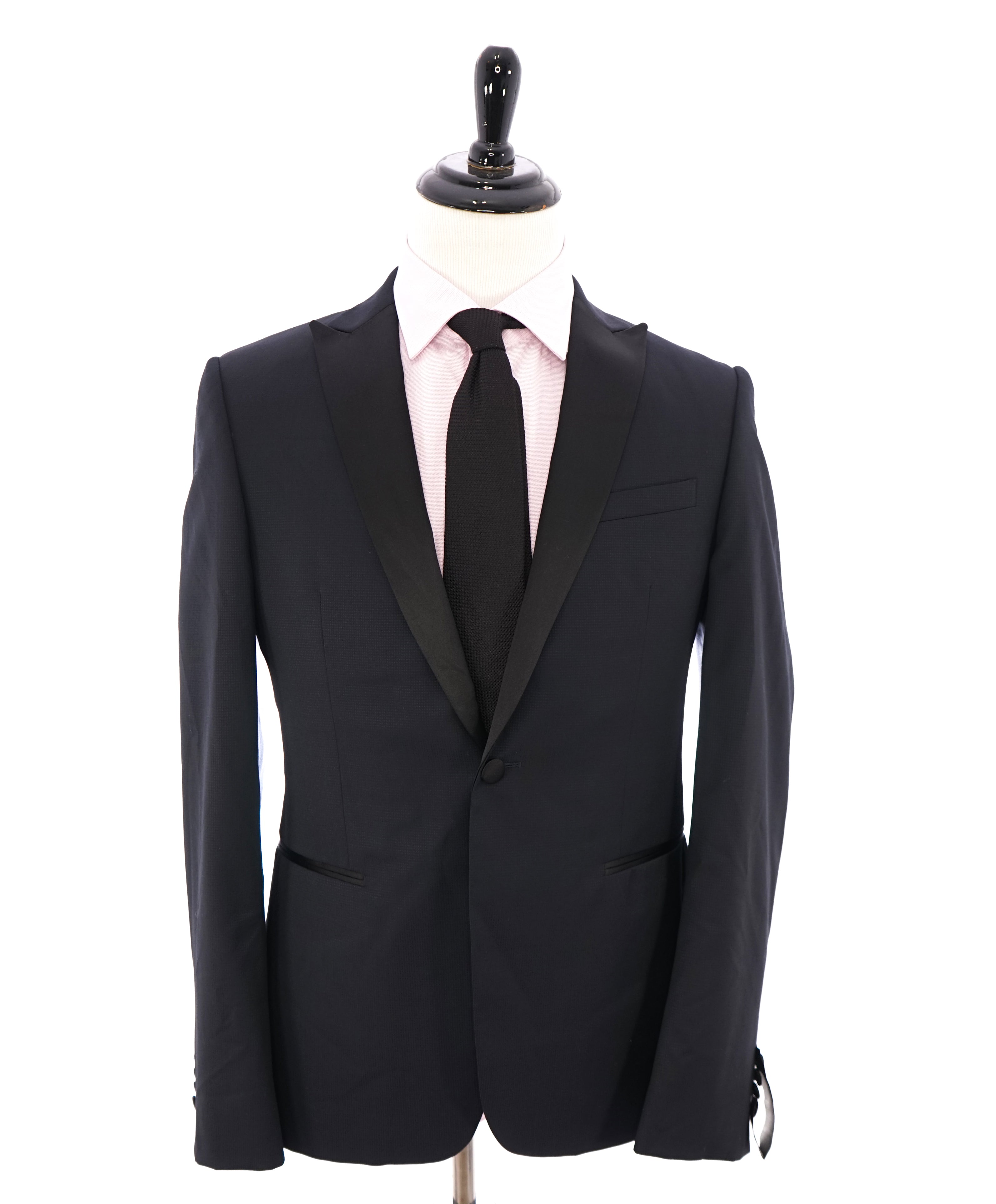 Z ZEGNA - Navy Blue Micro Check Textured Fabric Drop 8 Tuxedo Suit - 40R