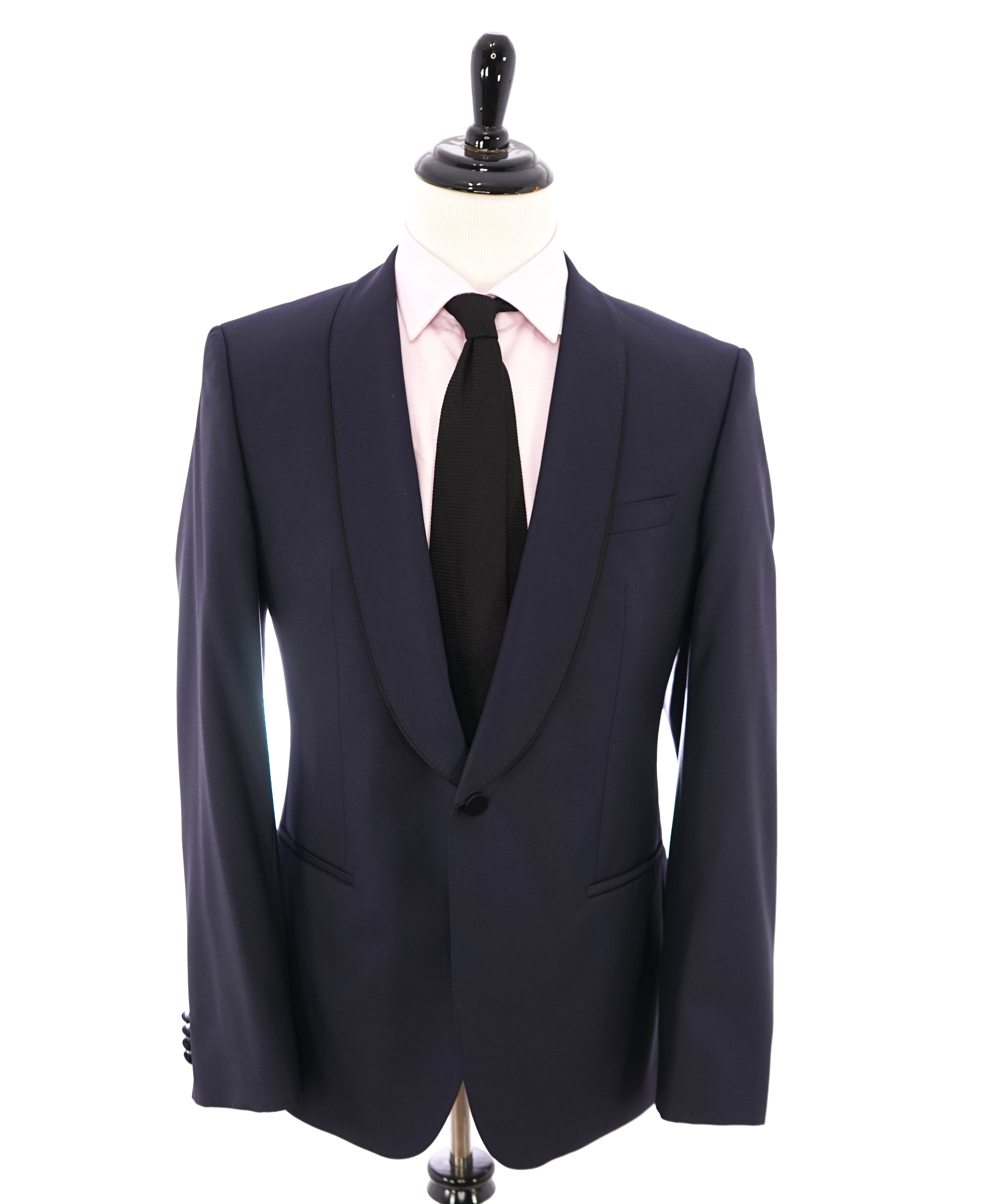 HUGO BOSS - Wide Shawl Collar Satin tipped 1-Button Blue Tuxedo Suit SILK - 42R
