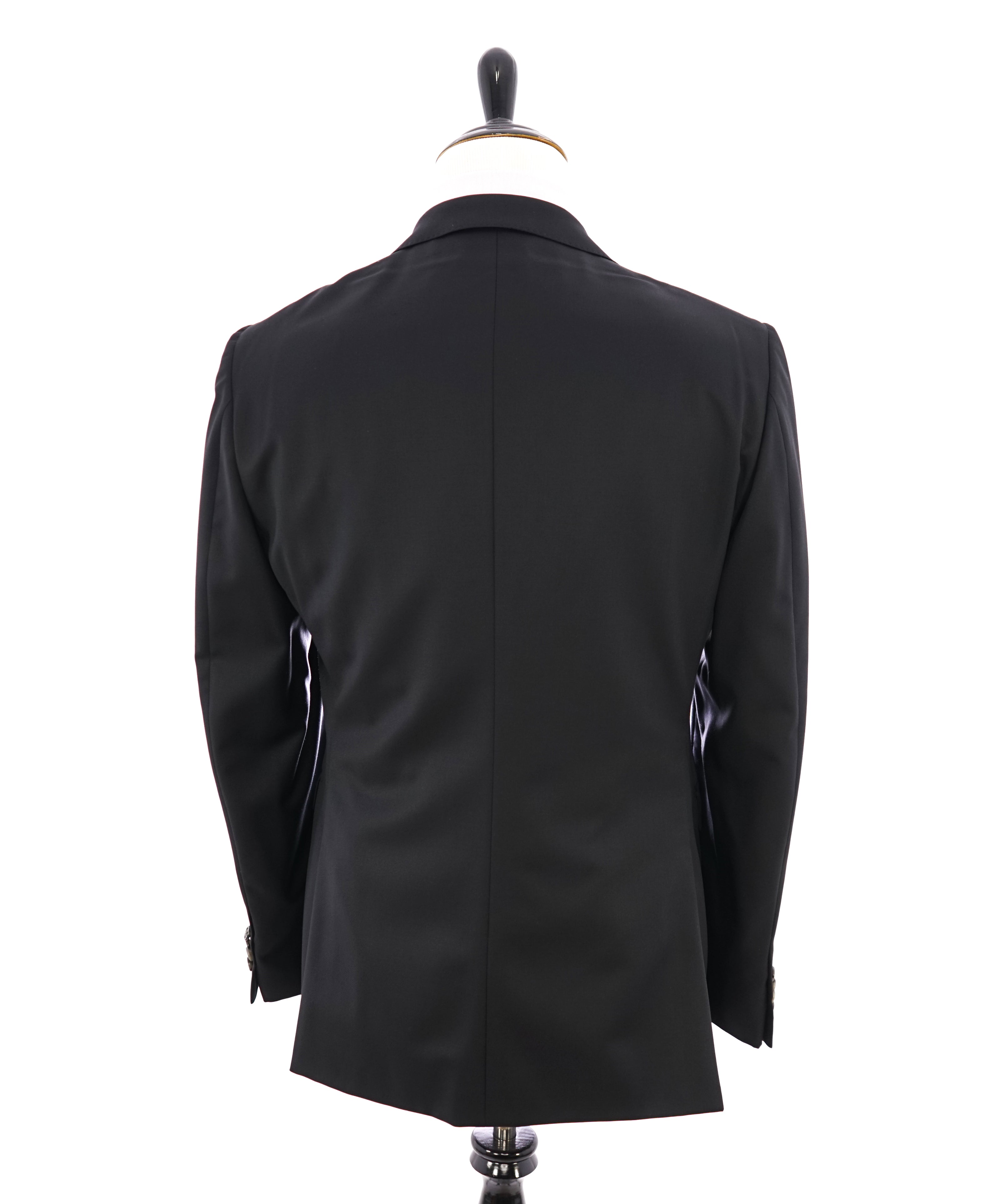 Z ZEGNA - Solid Black Fabric LOGO BUTTONS Drop 8 Wool Suit - 44R