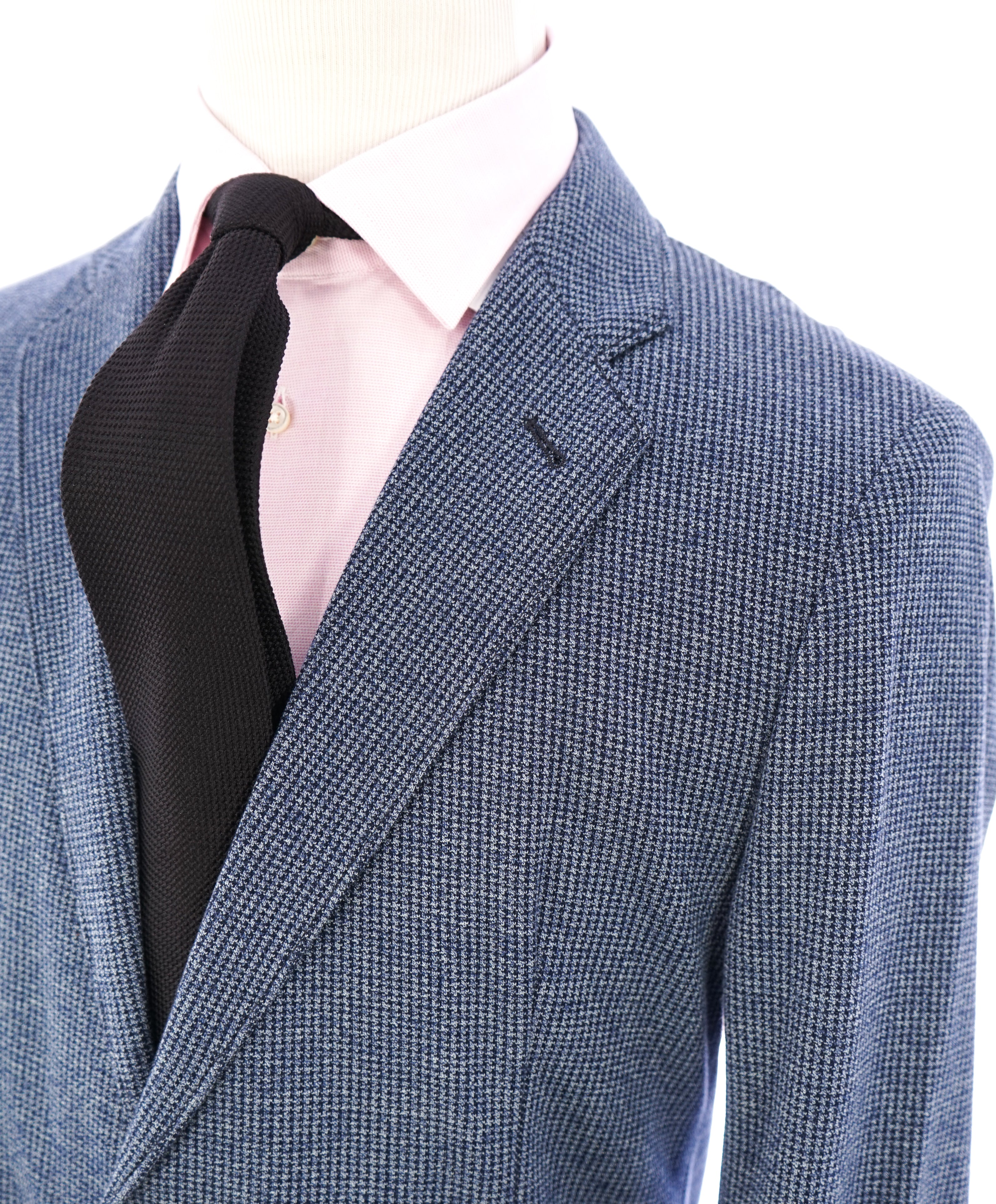 ARMANI COLLEZIONI - Unlined Blue Houndstooth Slim Updated Cotton Blazer - 42R
