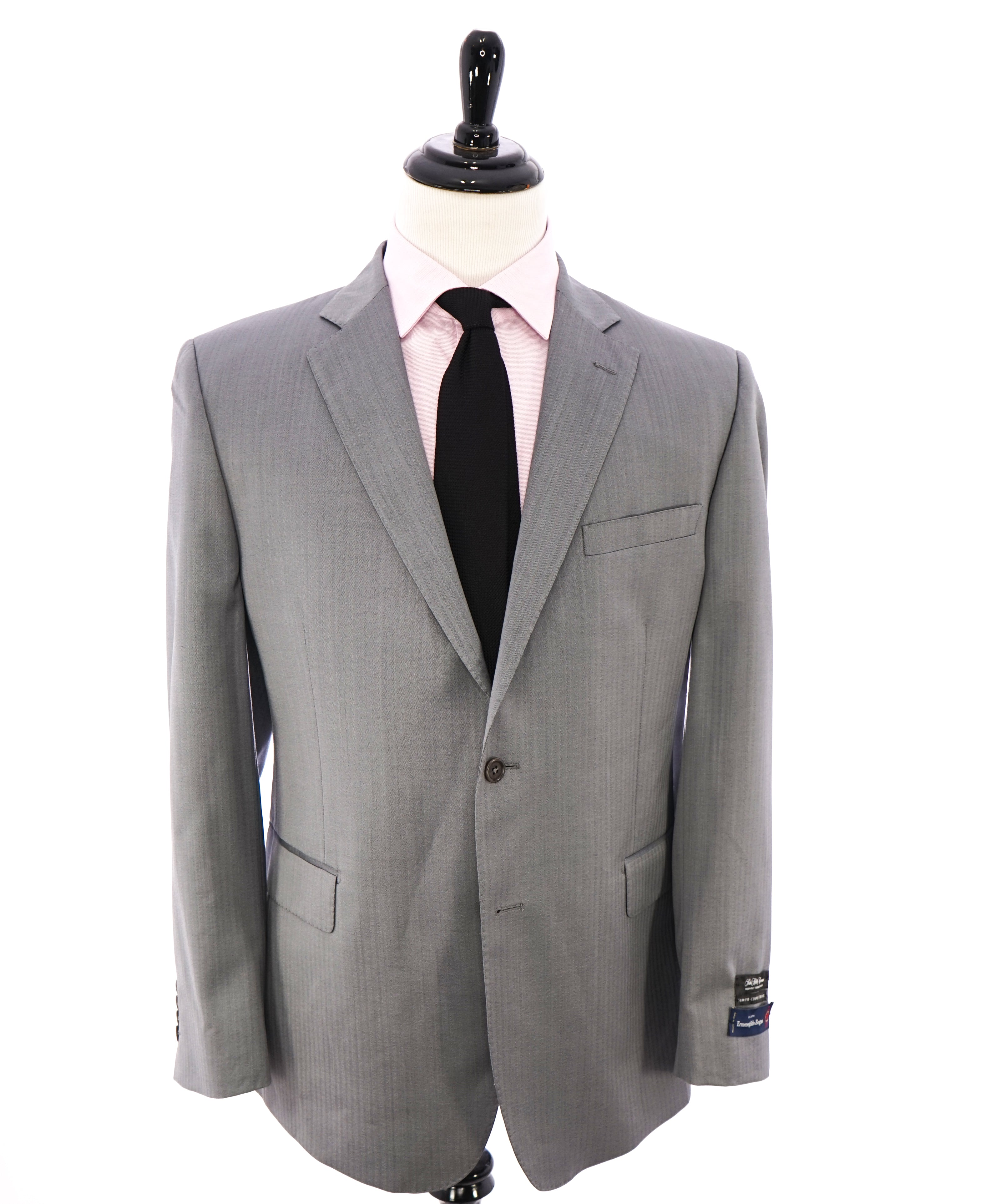 SAKS FIFTH AVENUE / ERMENEGILDO ZEGNA- Slim Fit Gray Herringbone Blazer- 44R