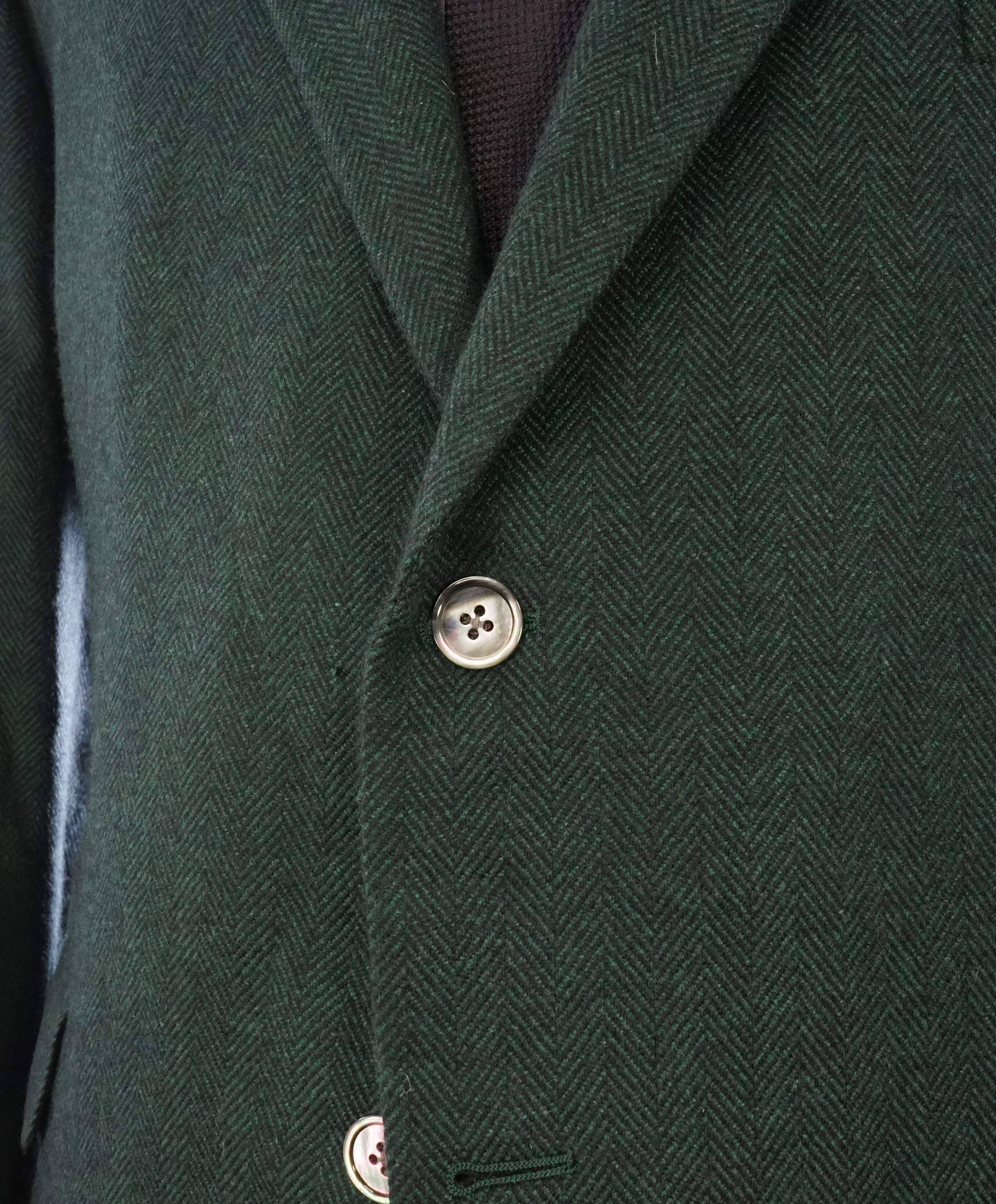 HICKEY FREEMAN -CARLO BARBERA PURE CASHMERE Green Herringbone Suit- 46S