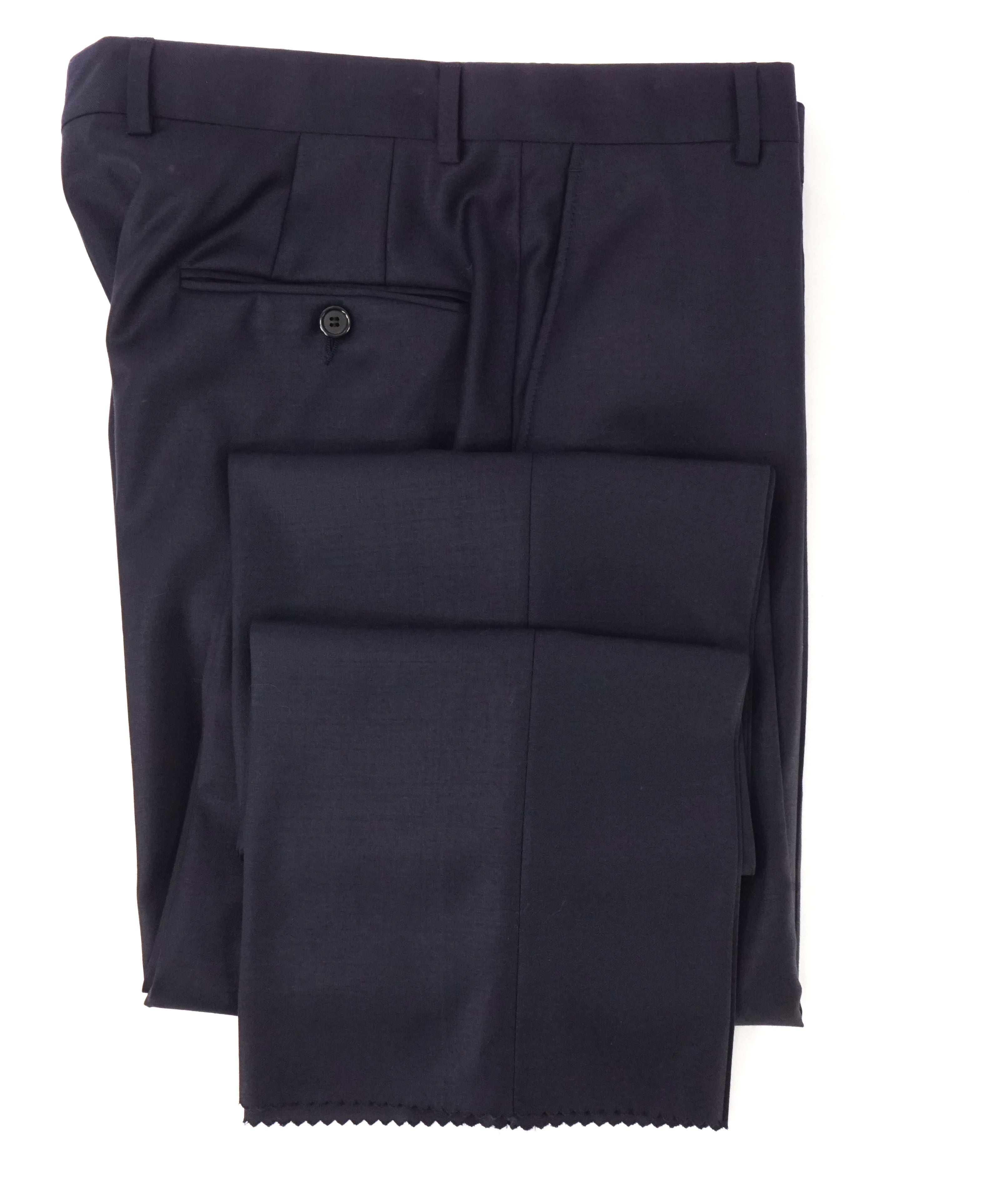 HICKEY FREEMAN -  Solid Navy Closet Staple Wool Flat Front Dress Pants - 32W