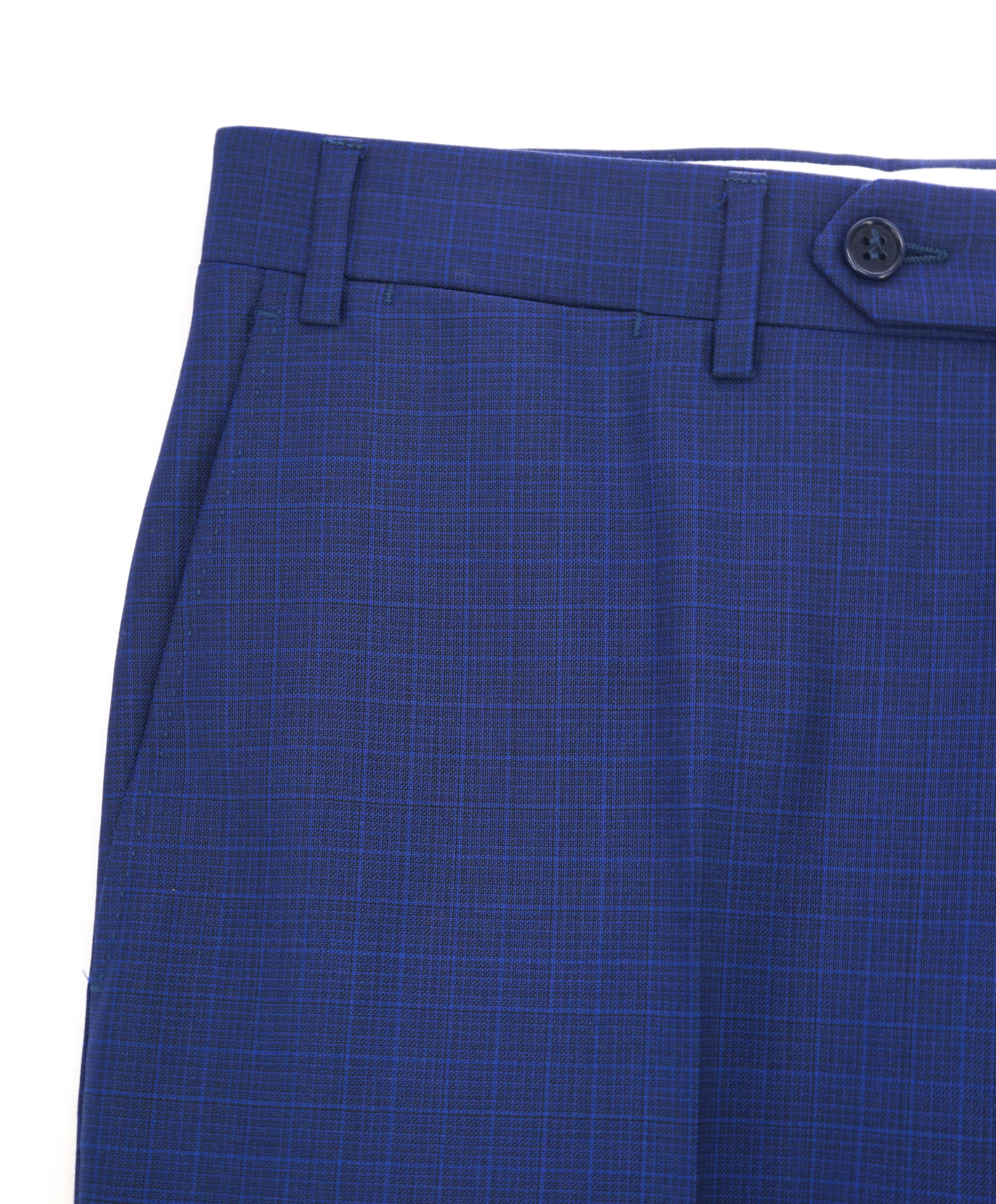 CANALI - Bold Blue Micro Check Plaid Flat Front Dress Pants - 32W