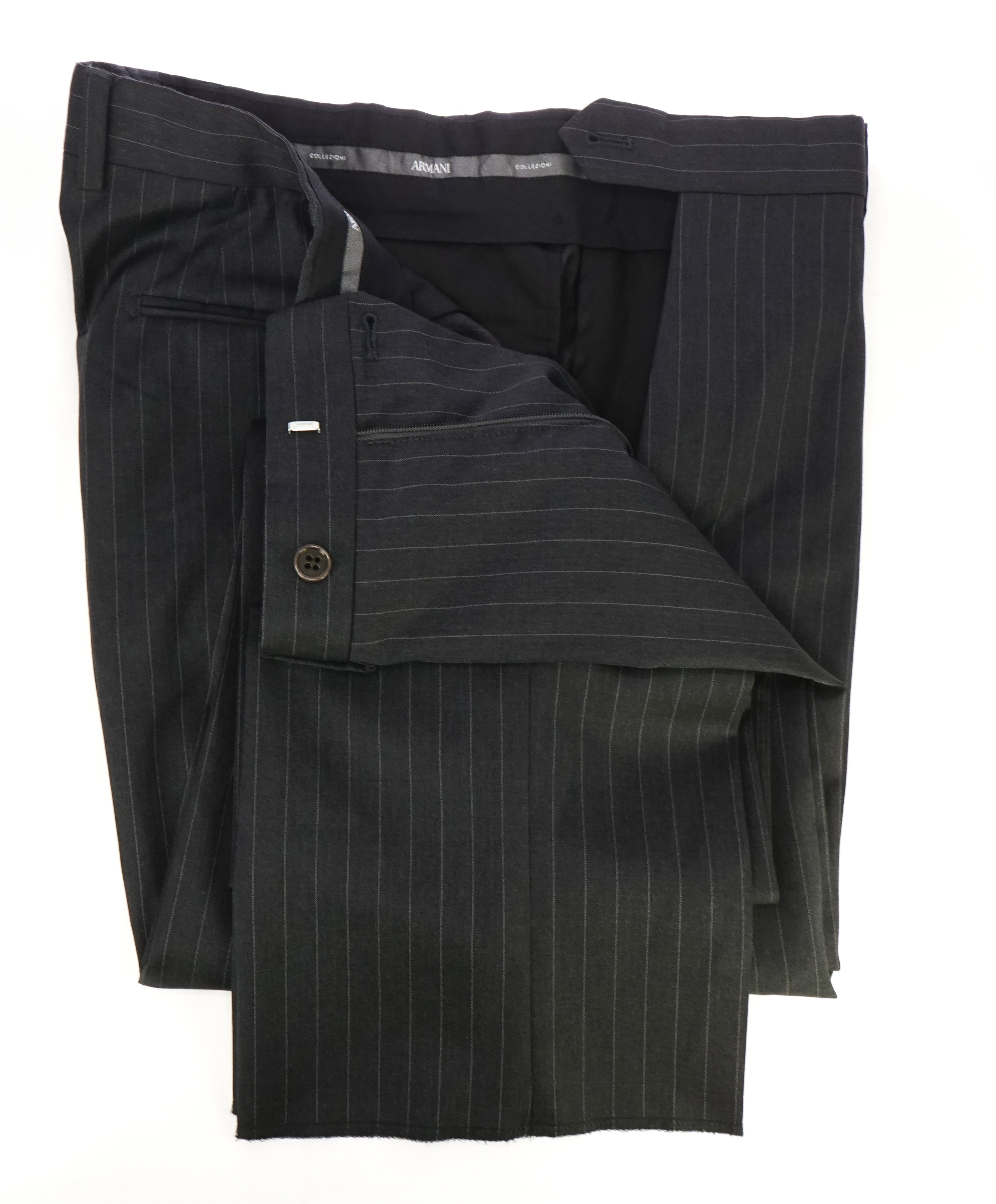 ARMANI COLLEZIONI - Gray Tonal Pin Stripe Flat Front Dress Pants - 33W