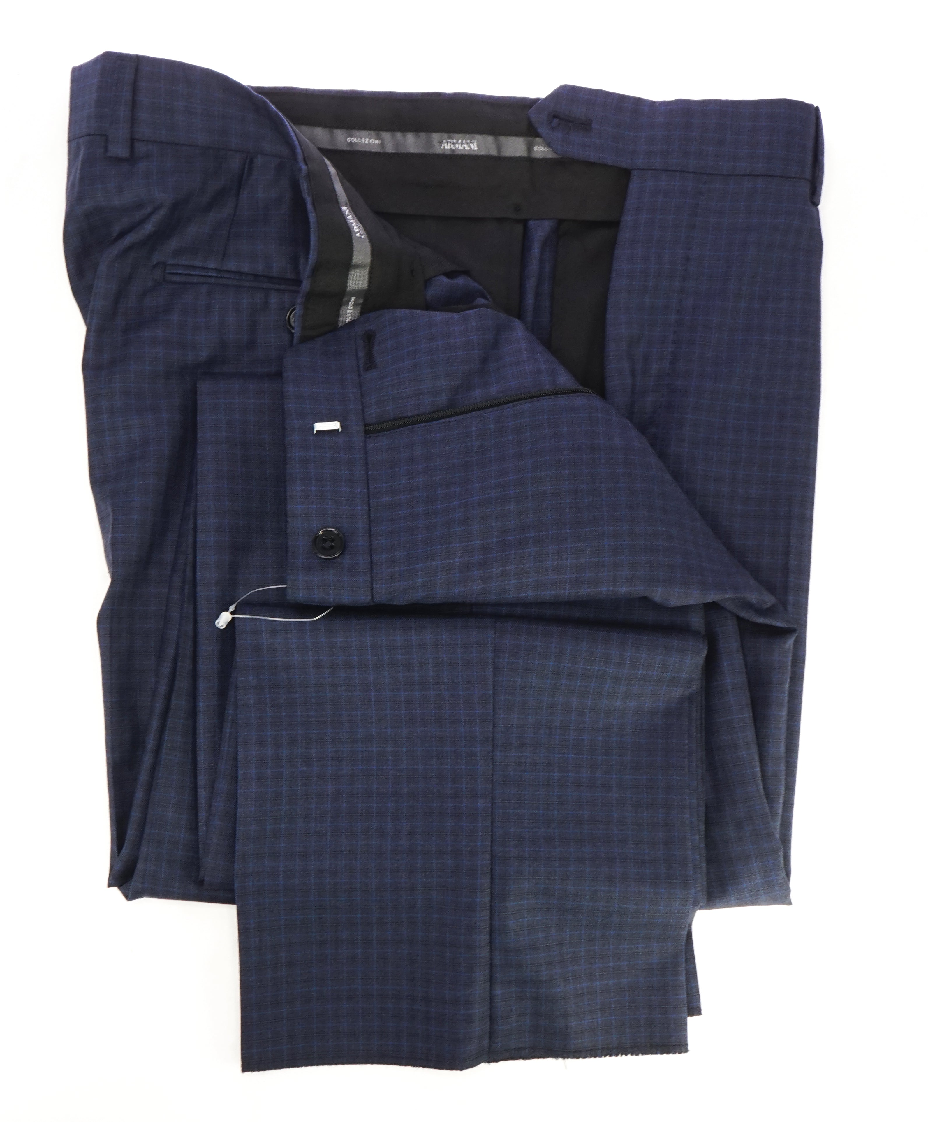 ARMANI COLLEZIONI - Blue Bold Micro Check Plaid Flat Front Dress Pants - 36W