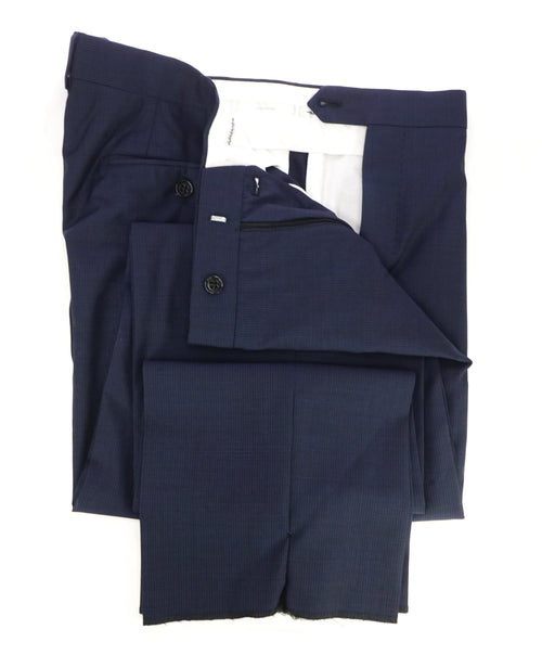 ARMANI COLLEZIONI - Tonal Micro Check Blue Flat Front Dress Pants -  38W