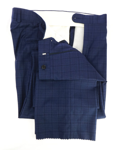 HICKEY FREEMAN - Blue Bold Plaid Check Wool Flat Front Dress Pants - 36W