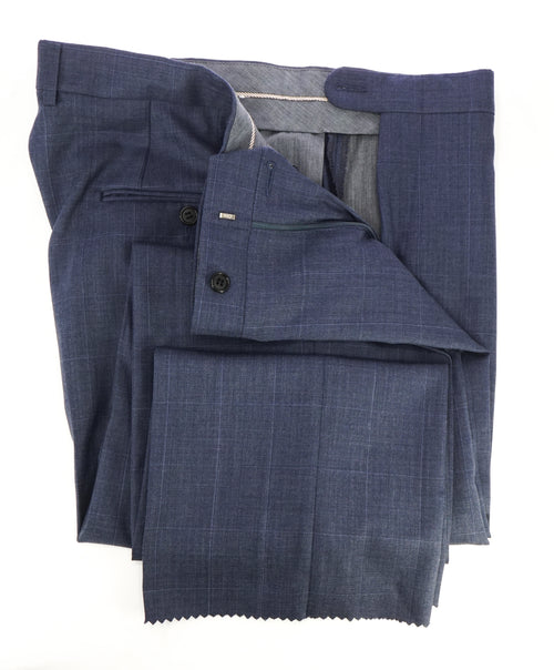 HICKEY FREEMAN - Pastel Blue Windowpane Plaid Wool Flat Front Dress Pants - 36W