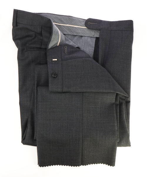 HICKEY FREEMAN - Charcoal Gray Textured Wool Flat Front Dress Pants - 34W