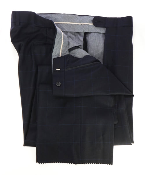 HICKEY FREEMAN - Navy Bold Windowpane Plaid Wool Flat Front Dress Pants - 39W