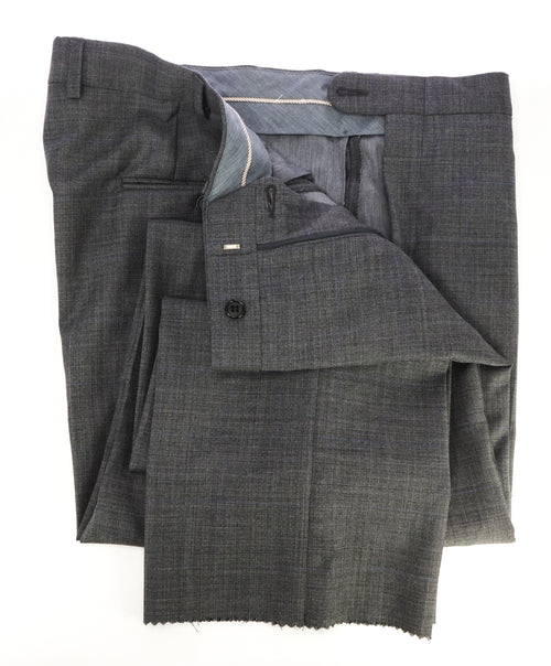 HICKEY FREEMAN - Prince of Wales Check Wool Flat Front Dress Pants - 38W