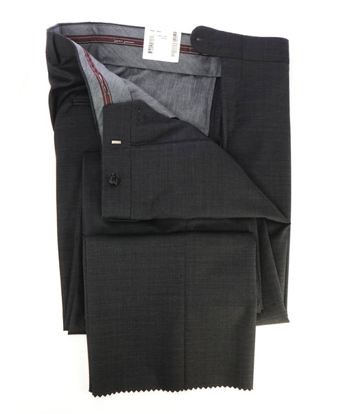 HICKEY FREEMAN - Textured Gray Pindot Wool Flat Front Dress Pants - 33W