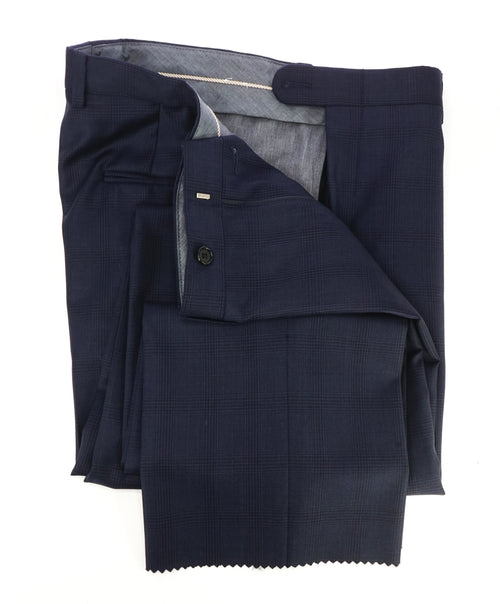 HICKEY FREEMAN - Blue Navy Check Plaid Wool Flat Front Dress Pants - 33W