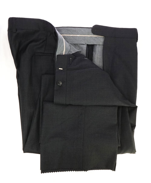HICKEY FREEMAN - Charcoal Gray Wool Flat Front Dress Pants - 42W