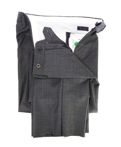 "ZANELLA - ""DEVON"" Gray & Blue Cross Check Wool Flat Front Pants - 32W"