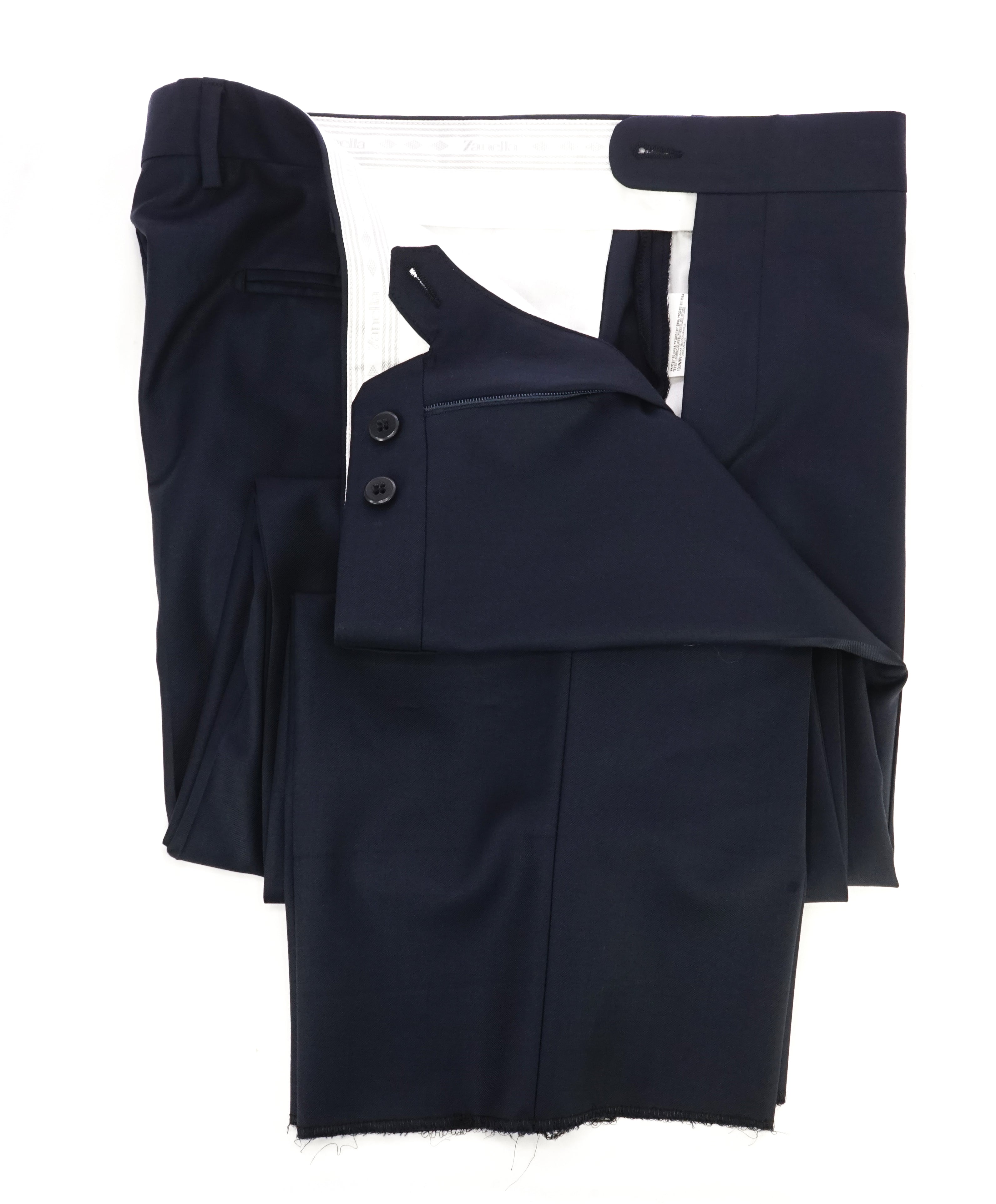 "ZANELLA - ""DEVON"" Solid Navy Blue Wool Flat Front Pants - 38W"
