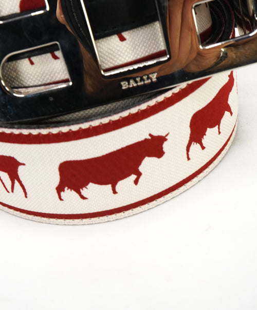 "BALLY - 100/40 Mirror ""B M.Ar Gurc"" Buckle LOGO ""Cow"" Strap Belt -  40W (100)"