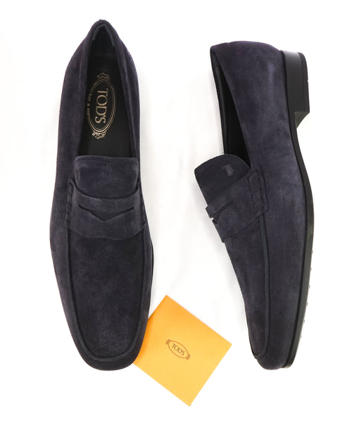 TOD'S - Blue Suede Gomma 85B Mocassino Logo Vamp - 12.5US