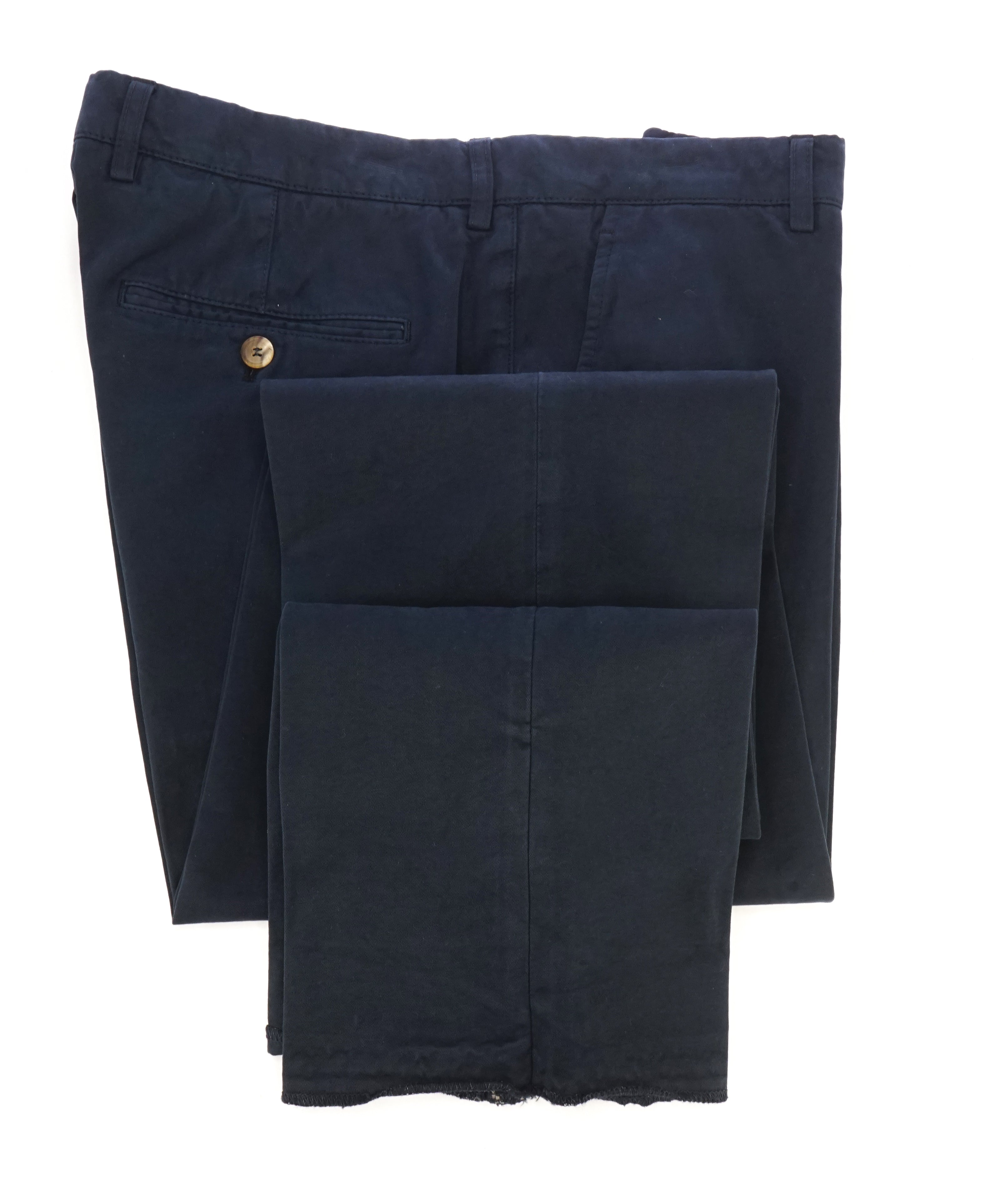 BRUNELLO CUCINELLI - Weathered/Distressed Navy Blue Chino Cotton Pants - 32W
