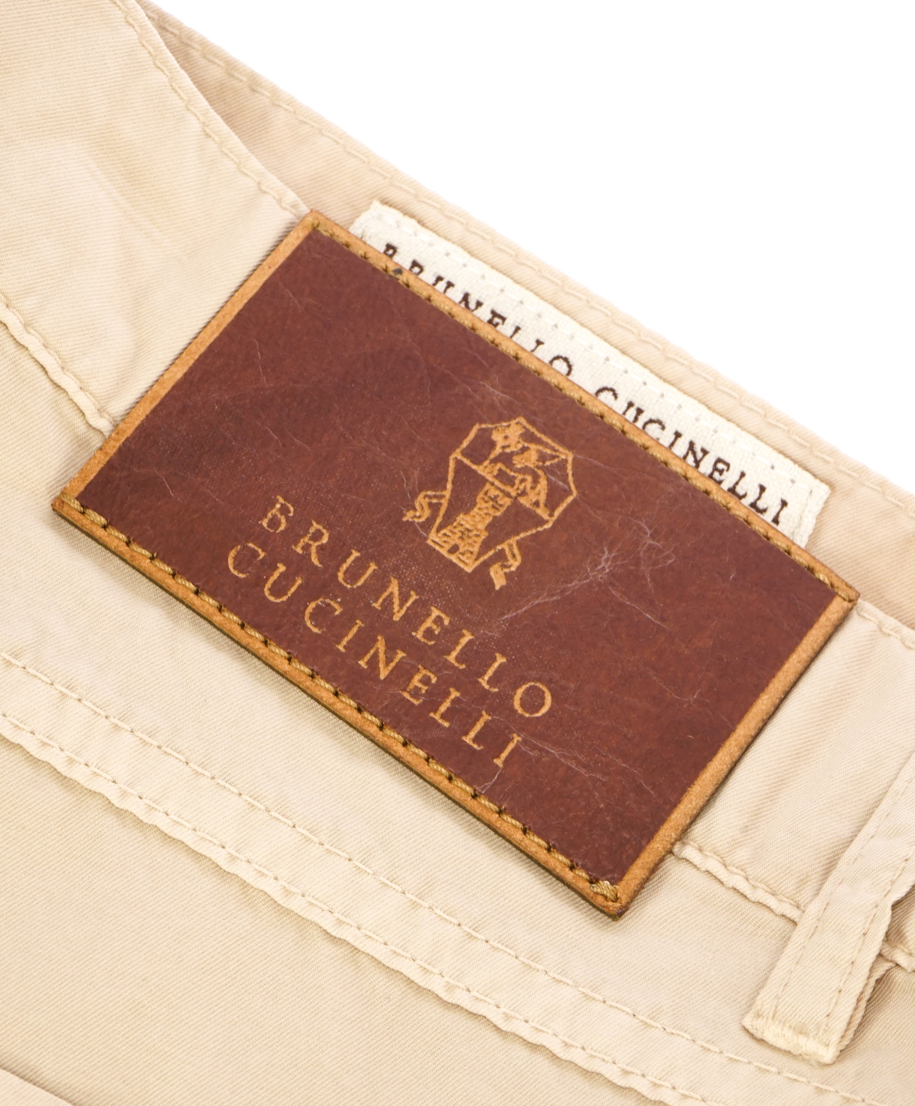 BRUNELLO CUCINELLI - Brown Logo 5-Pocket Leather Tag Cotton Pants - 36W