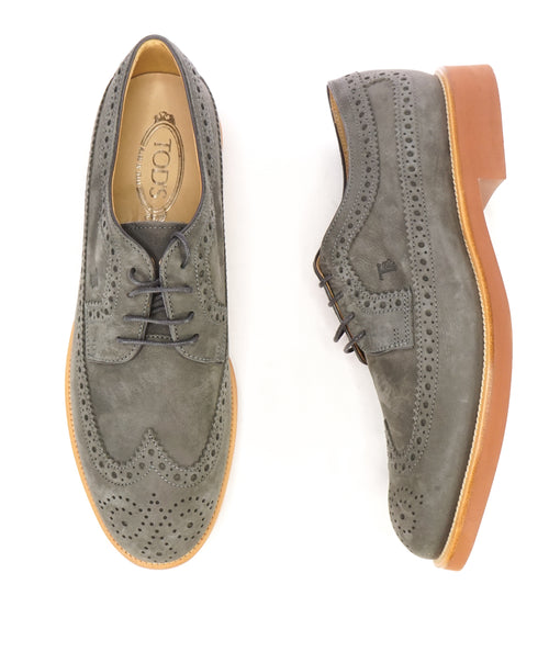 TOD'S - Gray Brogue Wingtip Suede Oxfords W Logo And Contrast Sole - 11US