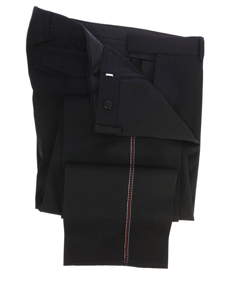 DIOR HOMME - Black & Red Contrast Stitch Runway Flat Front Dress Pants - 32W