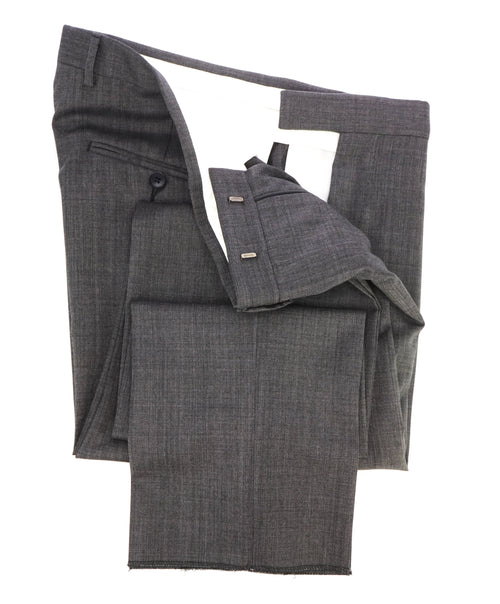"Z ZEGNA - Gray Textured Pindot ""Slim"" Flat Front Dress Pants - 38W"
