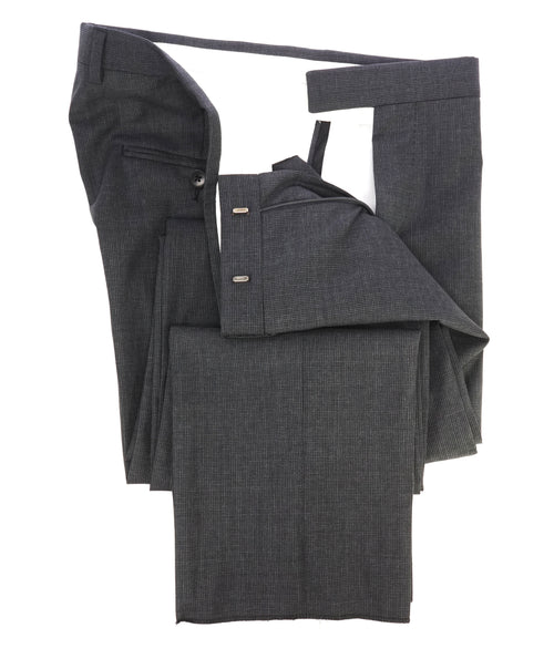 "Z ZEGNA - Gray Houndstooth ""Slim"" Flat Front Dress Pants - 32W"