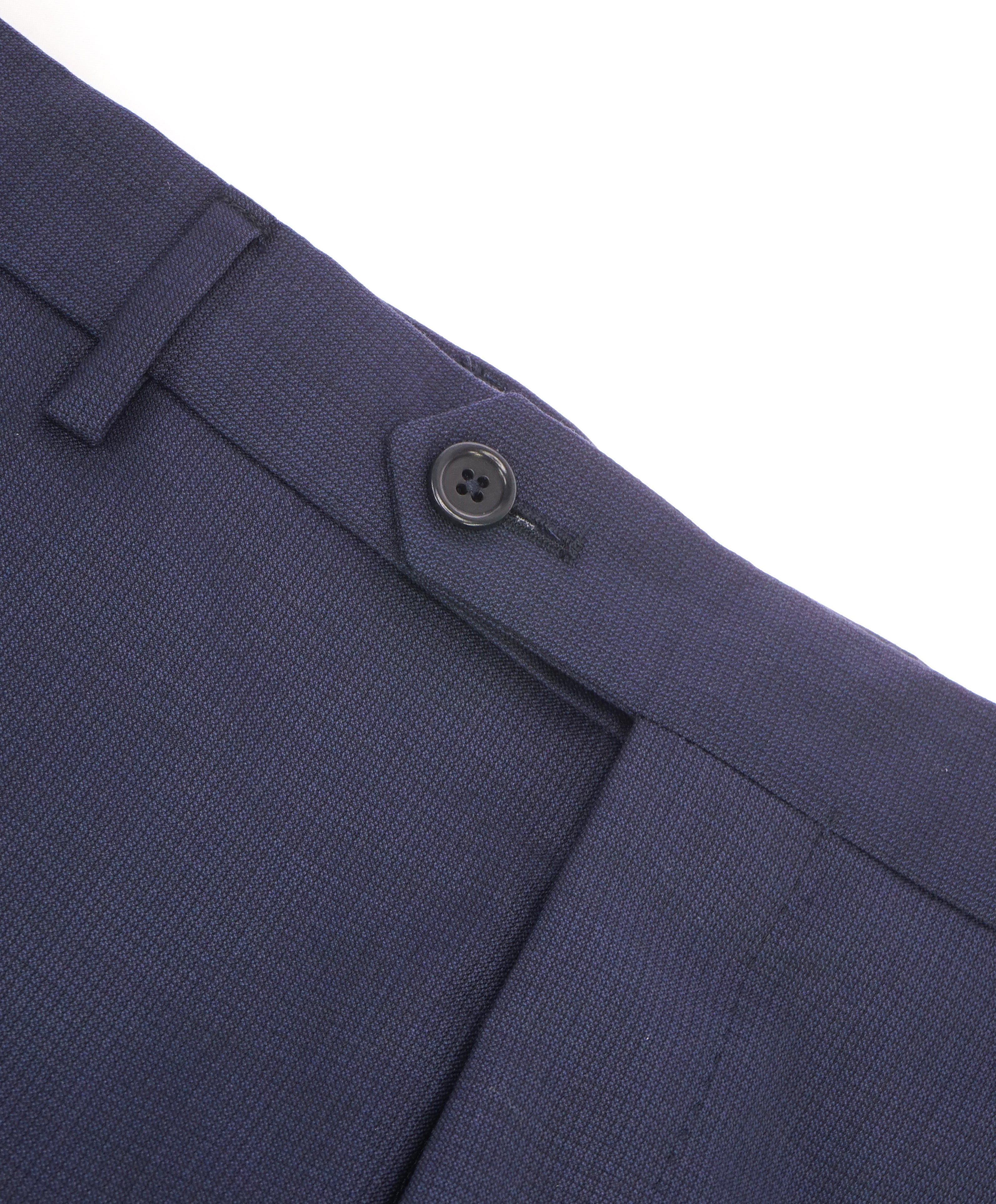 SAKS FIFTH AVE - Blue Wool MADE IN ITALY Check Flat Front Dress Pants -  34W