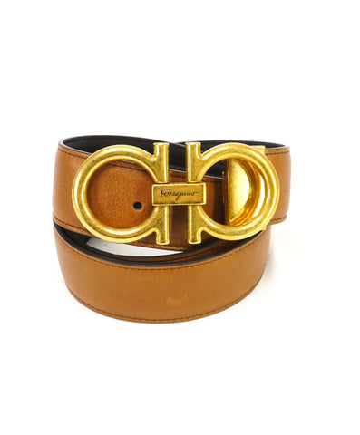 SALVATORE FERRAGAMO - Matte Finish Gold Gancini Buckle Black Leather Belt - 34W