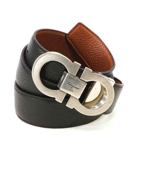SALVATORE FERRAGAMO - Textured Finish Gancini Buckle Pebbled Leather Belt - 38W