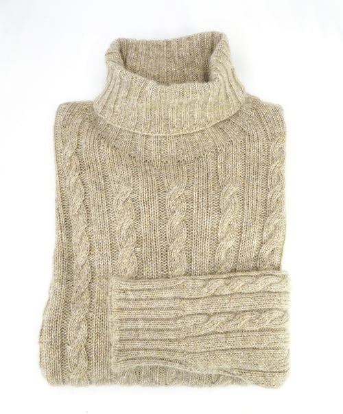 ISAIA - PURE CASHMERE Cable Knit Turtleneck Sweater - XL