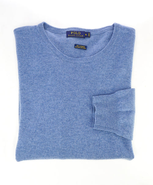 RALPH LAUREN - PURE CASHMERE Powder Blue Crewneck Sweater - S