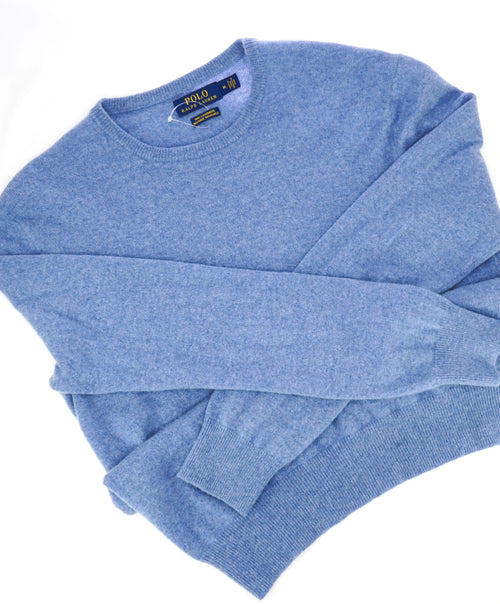 RALPH LAUREN - PURE CASHMERE Powder Blue Crewneck SLIM Sweater - M