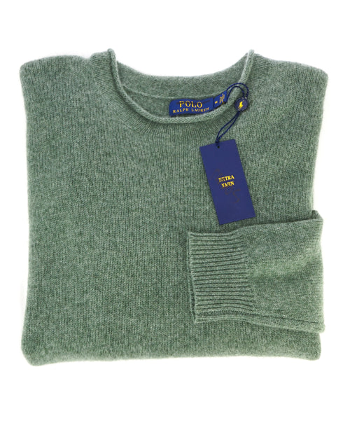 RALPH LAUREN - PURE CASHMERE Green Slub Collar Crewneck Sweater - M