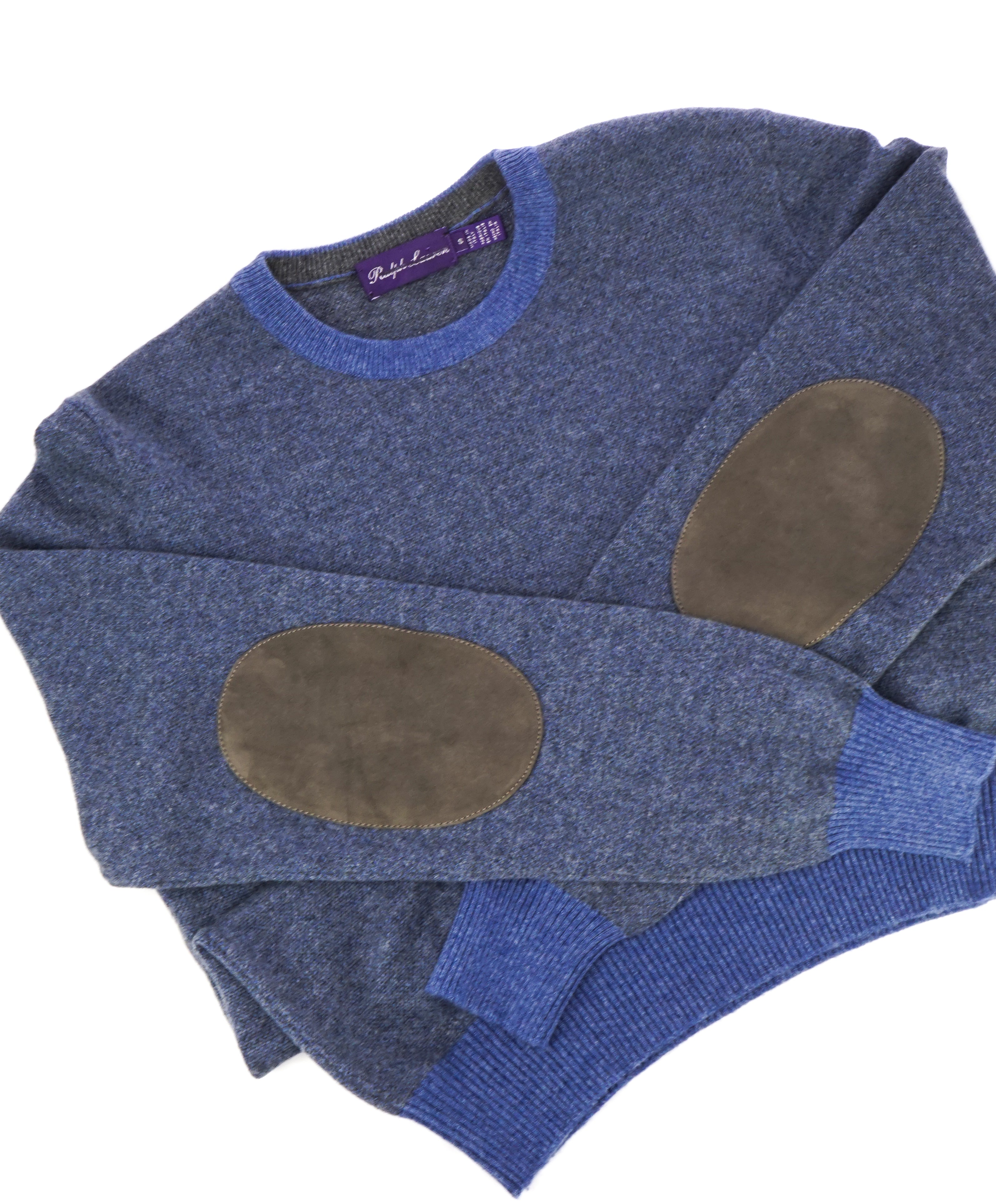 RALPH LAUREN PURPLE LABEL - PURE CASHMERE & SUEDE Crewneck Sweater - S
