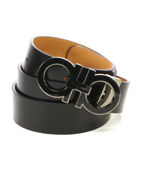 SALVATORE FERRAGAMO - Gloss Finish Black Gancini Buckle Leather Belt - 40W