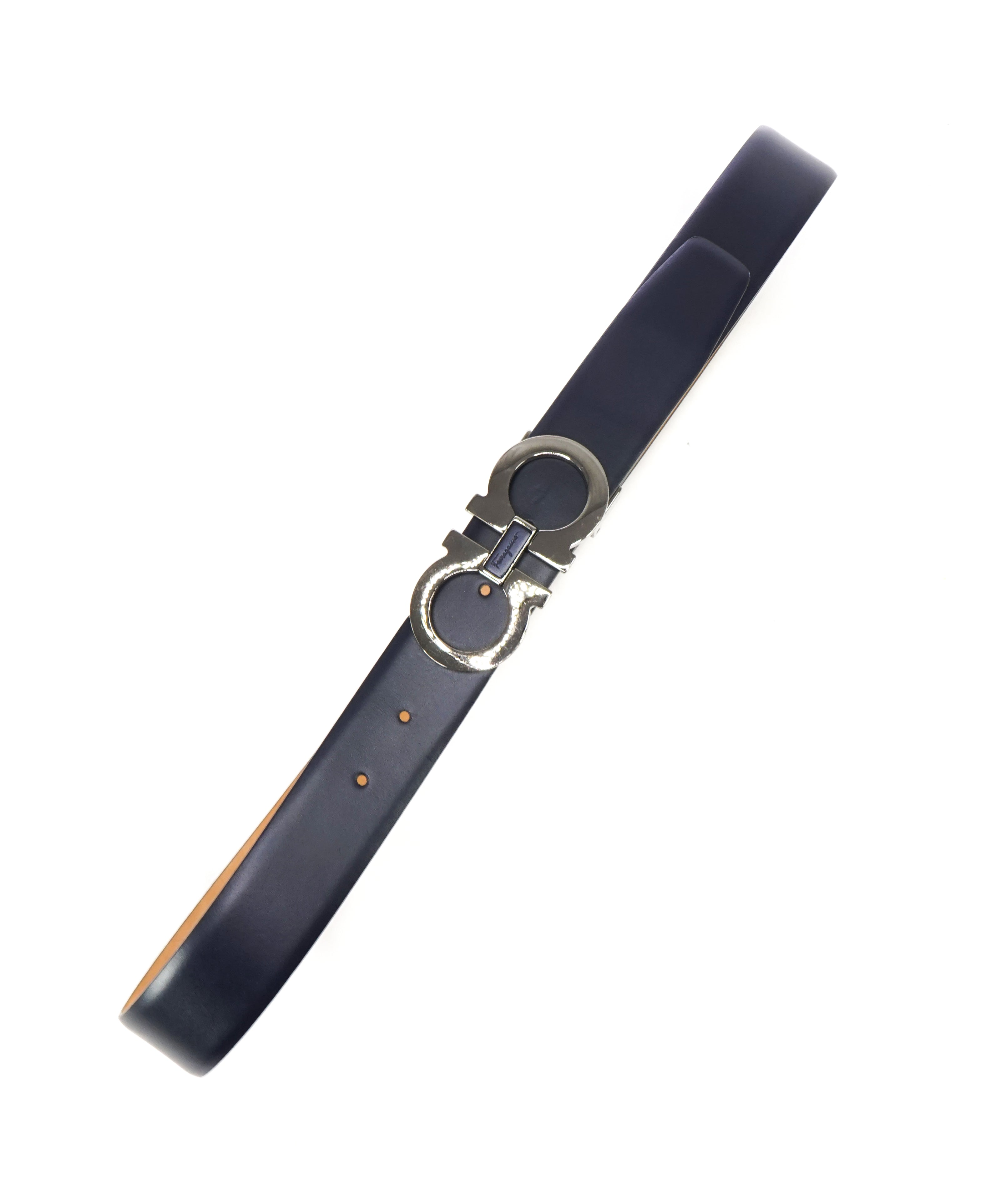 SALVATORE FERRAGAMO - Navy Blue Block Gancini Buckle Leather Belt - 36W