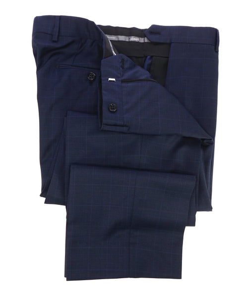 ARMANI COLLEZIONI - Blue Glen Plaid Check Flat Front Dress Pants - 34W