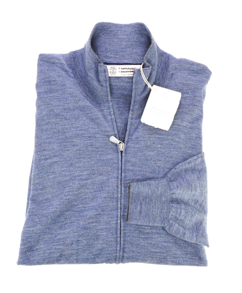 BRUNELLO CUCINELLI - CASHMERE Blend Baby Blue Double Zip Sweater - L(42)