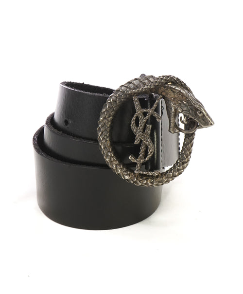 YVES SAINT LAURENT - YSL Black Distressed Leather SERPENT BUCKLE Belt -32W (80)