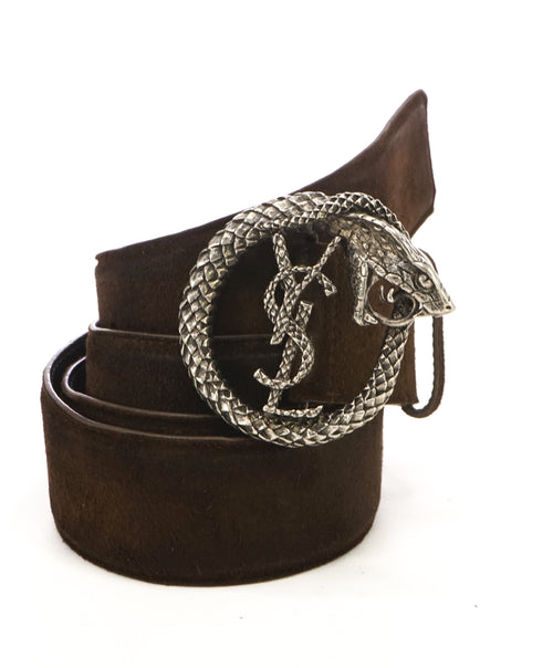 YVES SAINT LAURENT - YSL Brown Distressed Suede SERPENT BUCKLE Belt -38W (95)