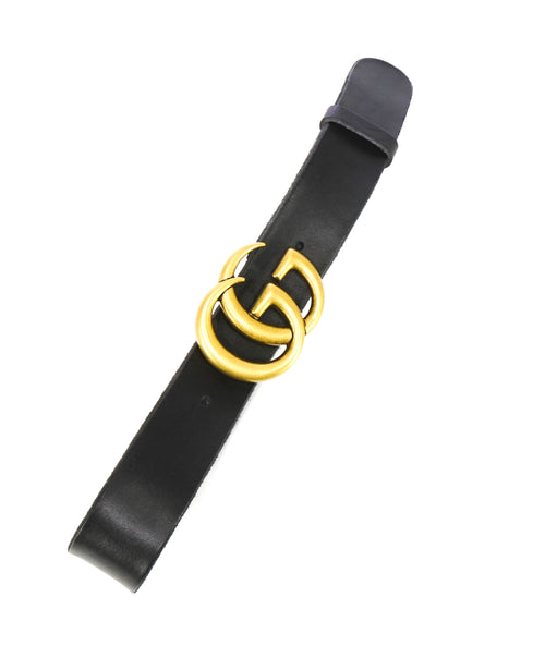 GUCCI - Leather Belt With Double Gold G Distressed Buckle - 28W (70CM)