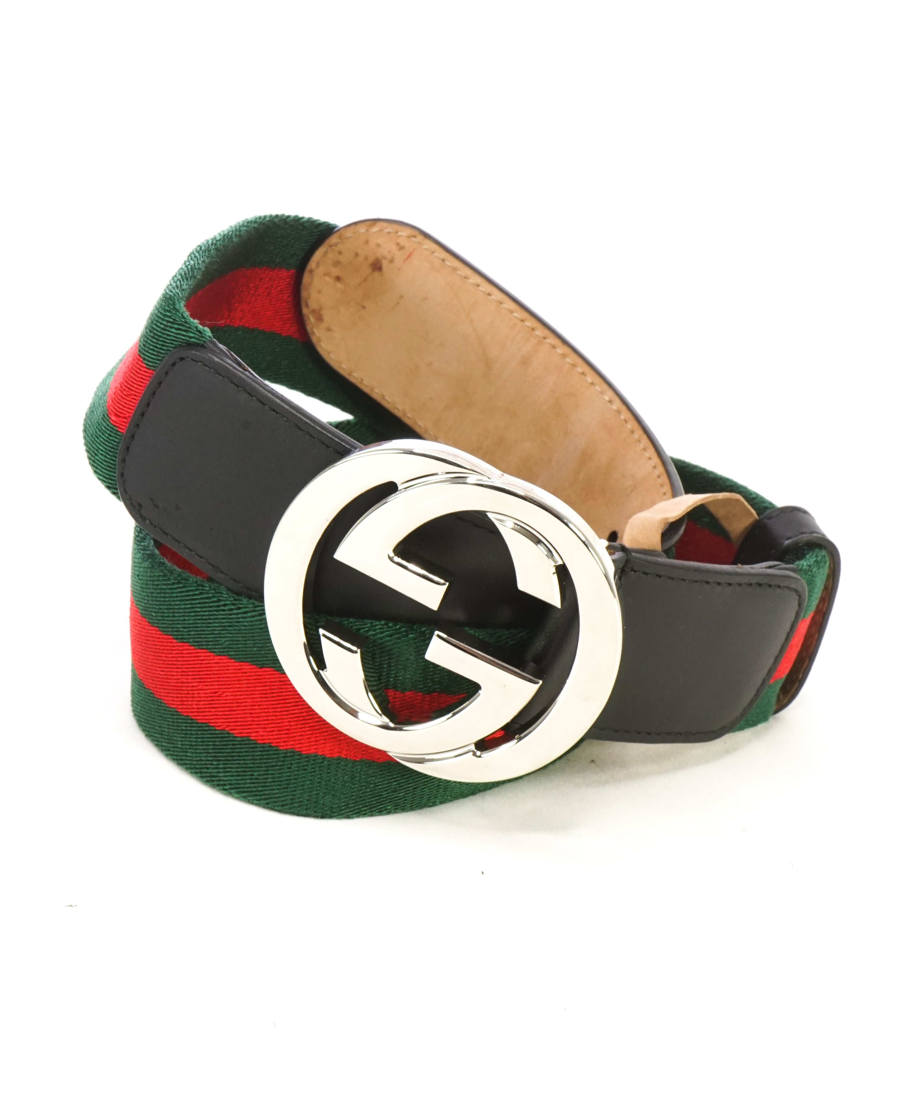 GUCCI - Interlocking GG Belt Leather & Red/Green Web - 32W (80CM)