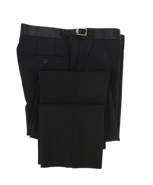 PAUL SMITH - GOLD SIDE-TABS Black Tuxedo Side Stripe Wool Pants - 32W