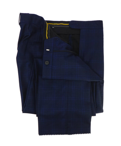 "HICKEY FREEMAN - ""ERMENEGILDO ZEGNA SILK Blend"" Blue Plaid Check Pants - 36W"
