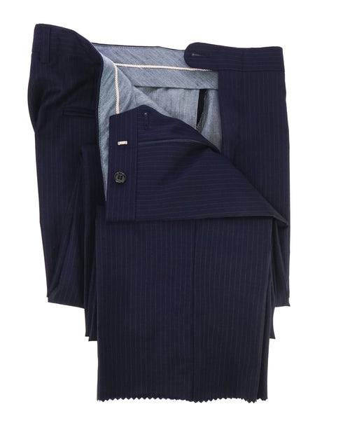 HICKEY FREEMAN - Chalk Stripe Flat Front Wool Dress Pants - 34W